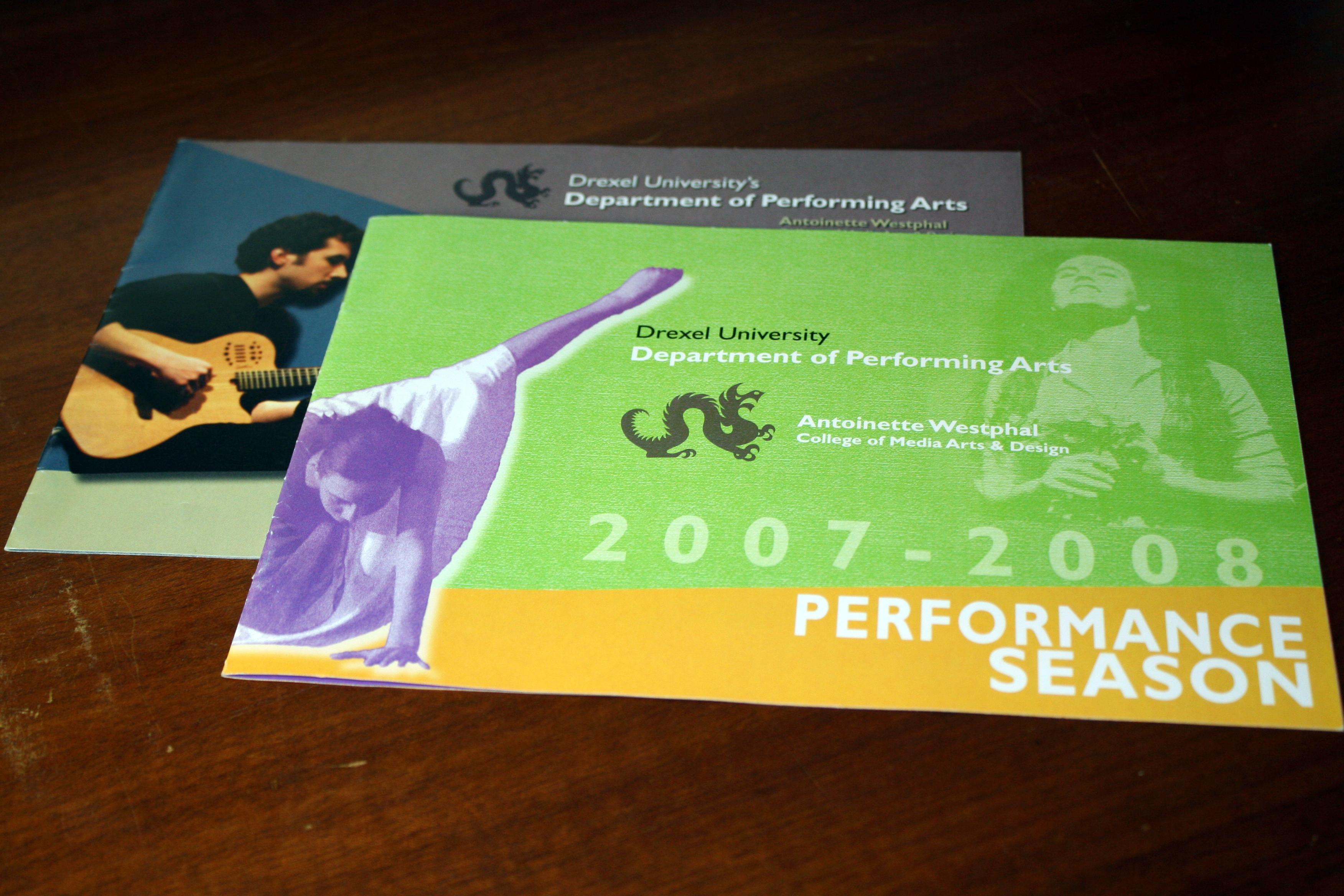 Drexel University Department of Performing Arts brochures