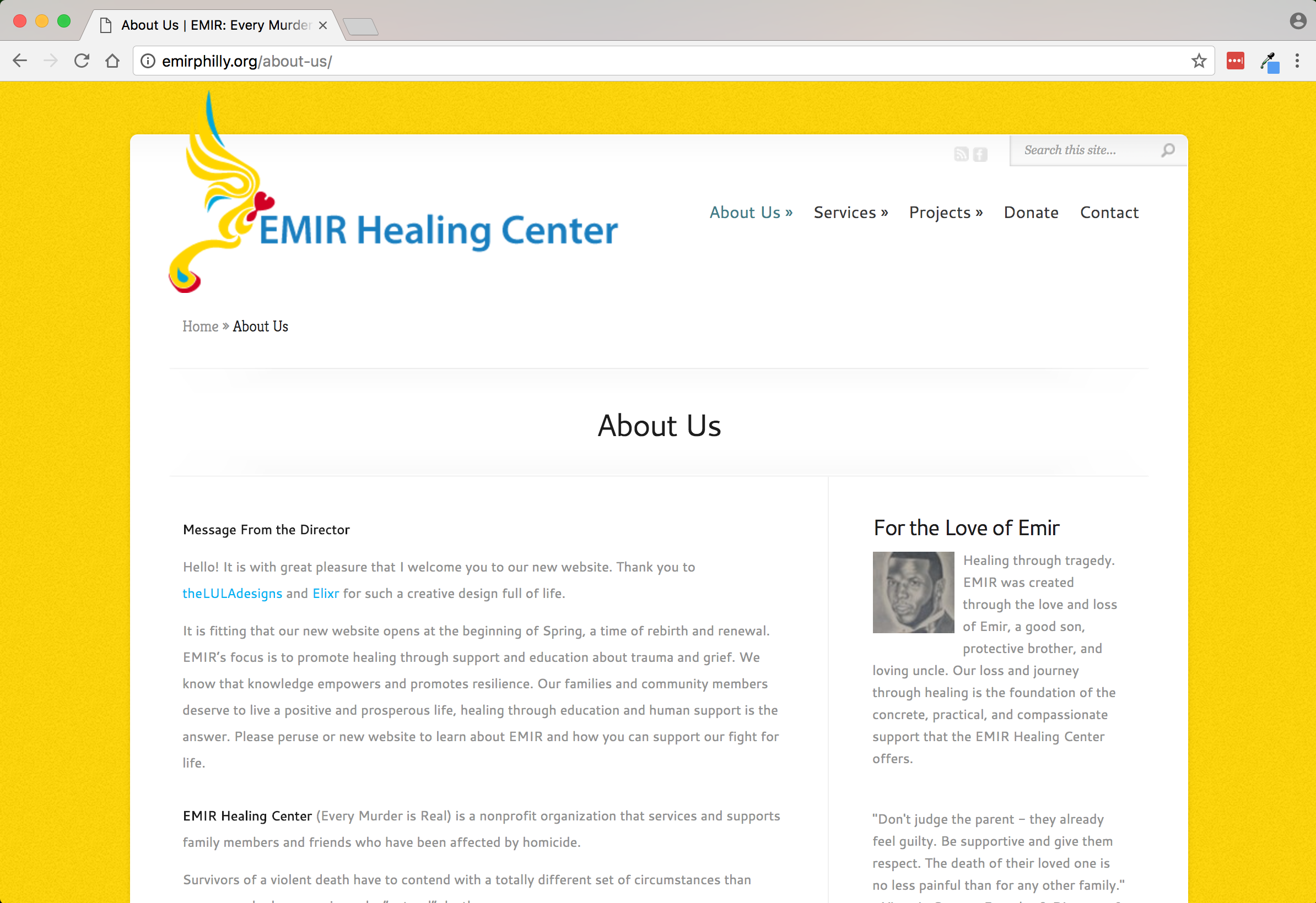 EMIR Healing Center About page