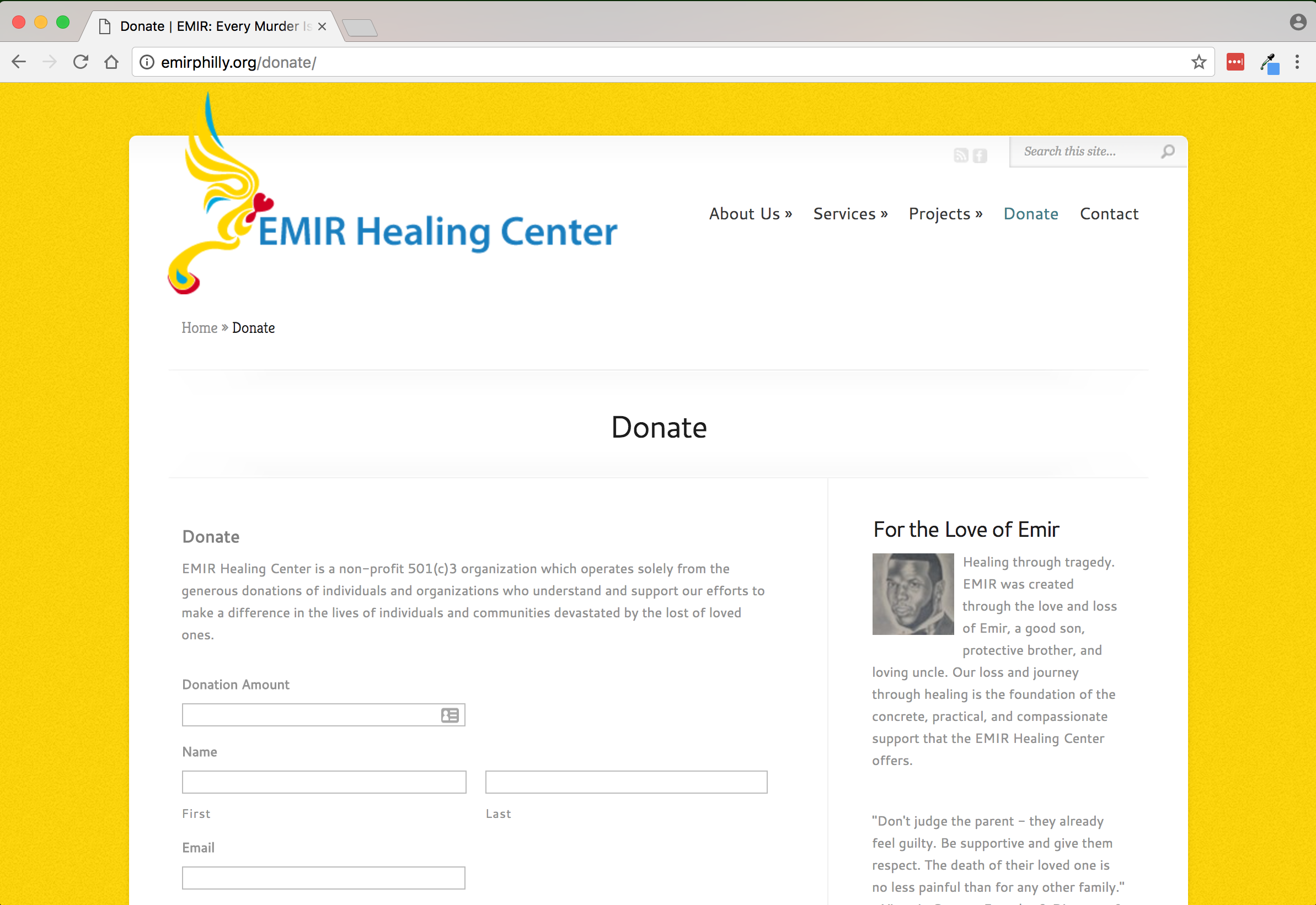 EMIR Healing Center Donate page
