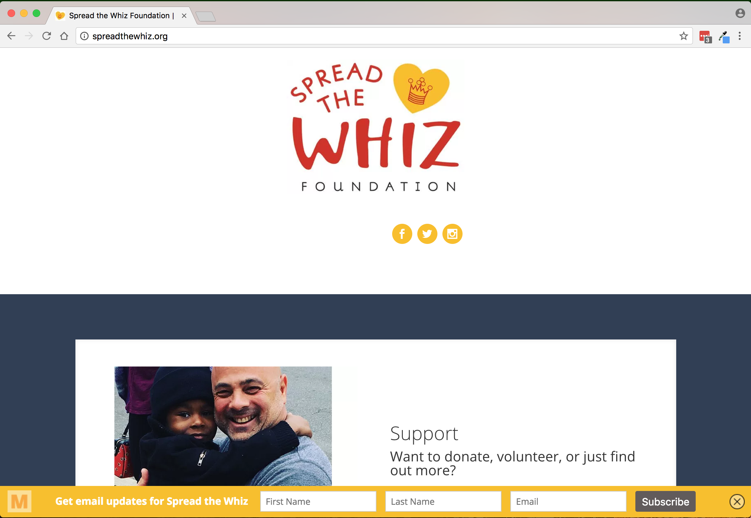 Spread the WHiz foundation home page