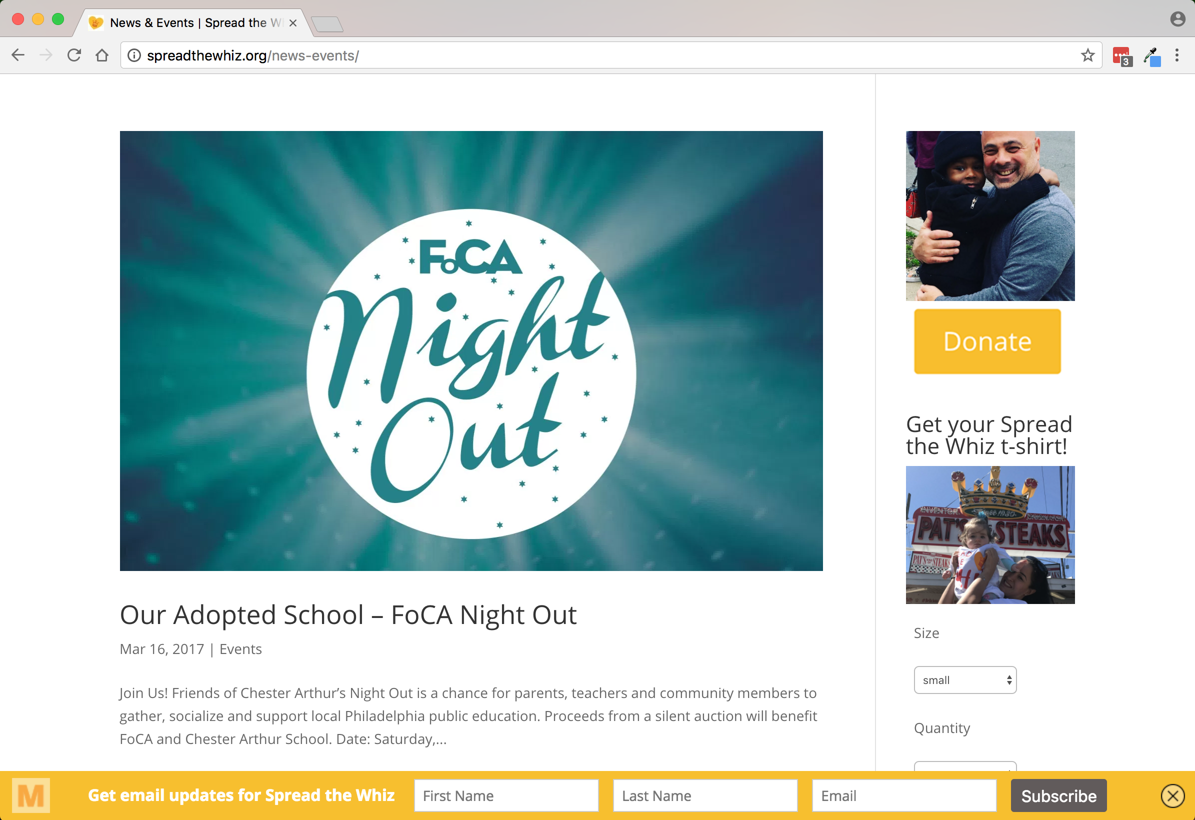 Spread the Whiz Foundation news & events page
