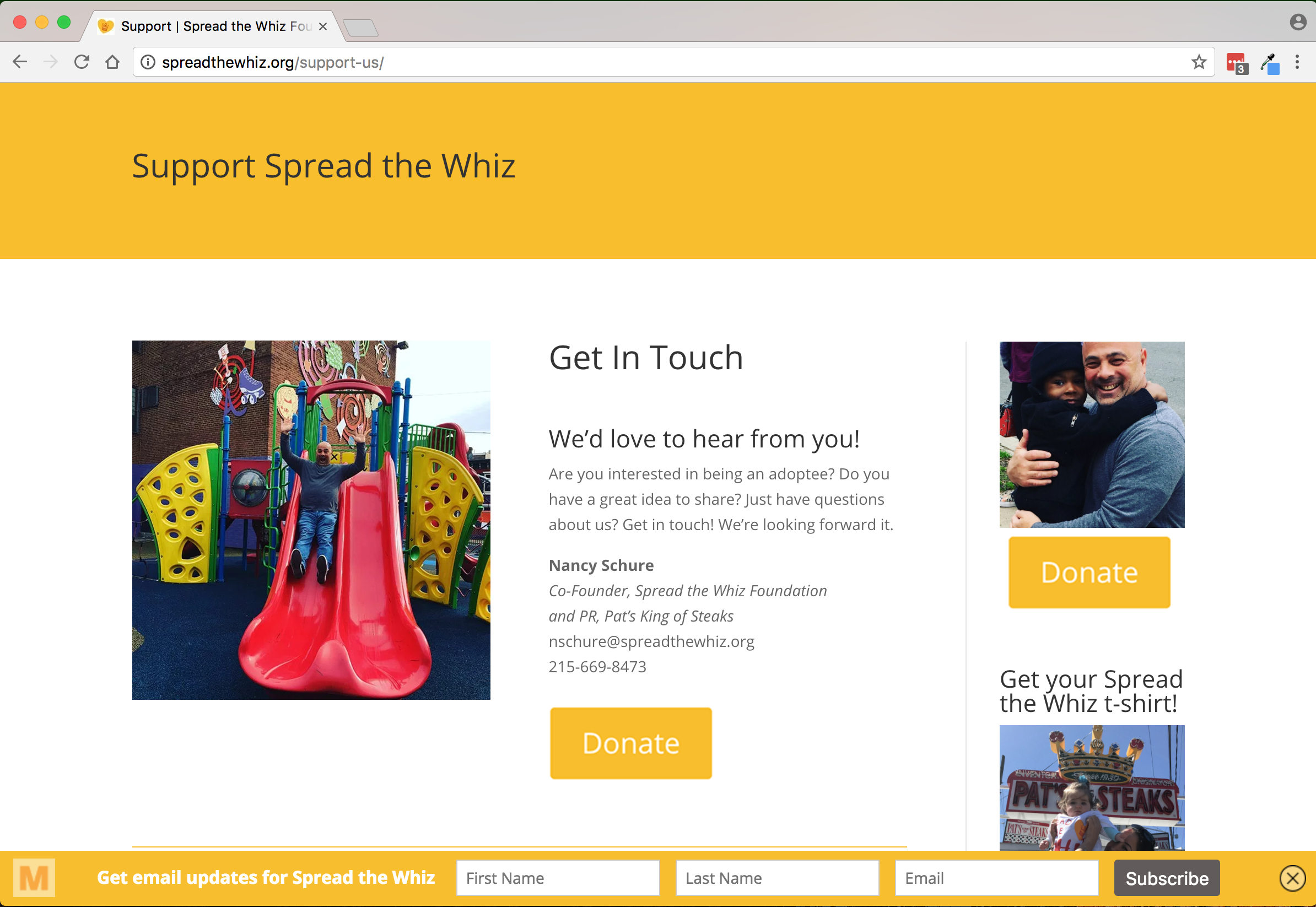 Spread the Whiz Foundation Support page